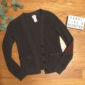 Mossimo gray sweater cardigan + elbow patches!
